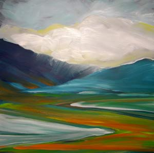 © Pam Van Londen 2010,  Valley Storm 3, oil on claybord,  8x8