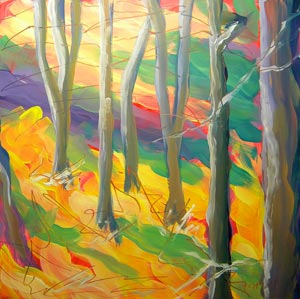 © Pam Van Londen 2010,  Aspen Grove 1, oil on clayboard,  8x8