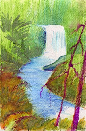 © Pam Van Londen 2010, Silver Creek Falls Middle North Falls, watercolor, 5.5x8.5