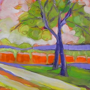 © Pam Van Londen 2010, Avery Park Trees 4, oil on claybord, 8x8