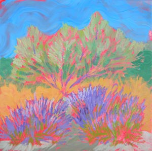 © Pam Van Londen 2010, Greg Sarris' Garden 1, oil on claybord, 8x8