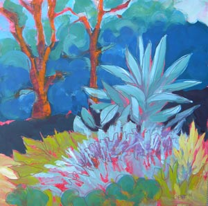 © Pam Van Londen 2010, Greg Sarris' Garden 3, oil on claybord, 8x8