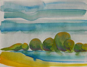 © Pam Van Londen 2010, Willamette River 17, watercolor, 9x12