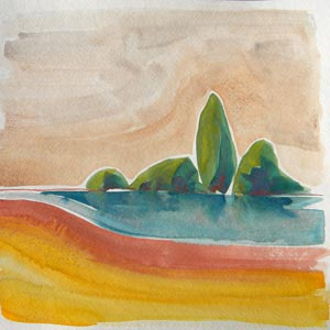 © Pam Van Londen 2010, Willamette River 19, watercolor, 12x12