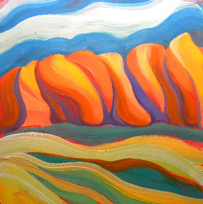© Pam Van Londen 2010, Canyon Dreams 31, oil on claybord, 8x8