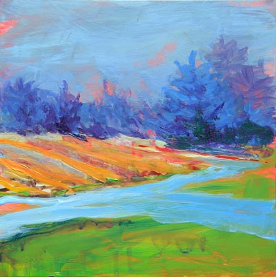 © Pam Van Londen 2010, Valley Morning 10, Acrylic on Clayboard, 8x8