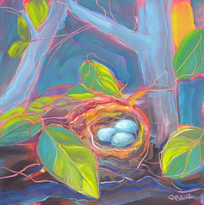 © Pam Van Londen 2010, Nest of Prosperity 12, oil on claybord, 8x8