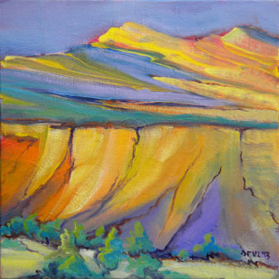 Canyon Dreams 33 © Pam Van Londen 2013. Oil on 8x8-inch canvas panel. Unframed.