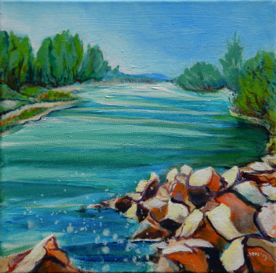 Willamette River 1.2. 12x12x.5 gallery-edged acrylic painting