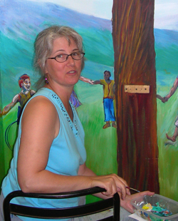 Pam Van Londen painting a mural at Uniterian-Universalist Fellowship of Corvallis. Photo © Suz Doyle 2007.