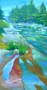 © Pam Van Londen 2007 Santiam River 1 oil on gallery-edged canvas on 12 x 24 x 1.5 canvas