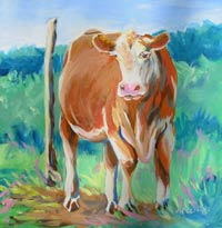 © Pam Van Londen 2008 Alabama Cow 8x8x1 in oil on clayboard