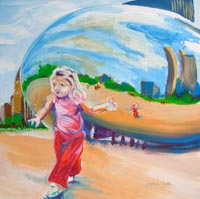 © Pam Van Londen 2008 Cloud Gate 1 8x8x1 in oil on clayboard