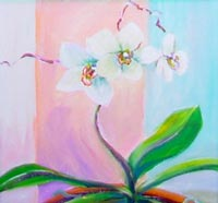 SOLD! ©  Pam Van Londen 2007 Orchid 1 8x8 acrylic on canvasboard