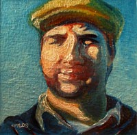 © Pam Van Londen 2008 Portrait of Brian Kowalski, Artist 8x8x1 in oil on canvasboard