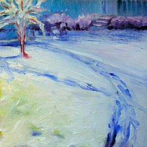 © Pam Van Londen 2008 18th Street Snow 2 8x8-inch in oil on canvas