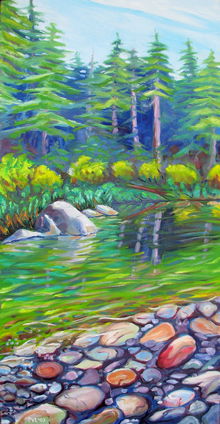 © Pam Van Londen 2007 Smith River 4 oil on canvas on 18 x 36 x 1.5 canvas