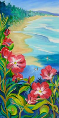 © Pam Van Londen 2010, Beverly Beach 4 Roses, oil on gallery-edged canvas, 18x36