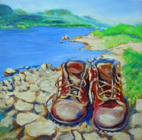 © Pam Van Londen 2008 Karin's Boots Visit Columbia River 8x8x1 in oil on clayboard framed in ready-to-hang black lacquered wood.