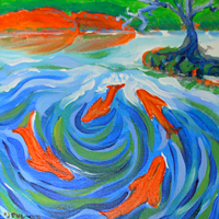 SOLD! ©  Pam Van Londen 2007 Koi Pond 1 8x8 acrylic on canvasboard