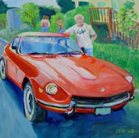 © Pam Van Londen 2008 Reuel and his Datsun 240z 8x8x1 in oil on clayboard