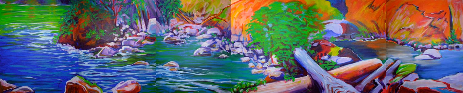 © Pam Van Londen 2008 Santiam River 12 Polyptych, acrylic on six 16x20 panels to make 96x20 when attached.