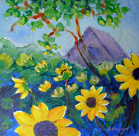 SOLD! ©  Pam Van Londen 2007 Sunflower Afternoon 8x8 acrylic on canvasboard