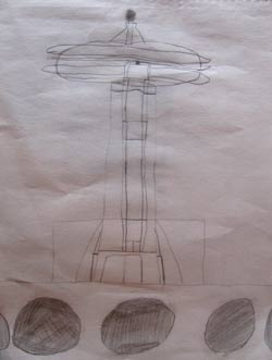 Seattle Space Needle drawing by Maya Van Londen