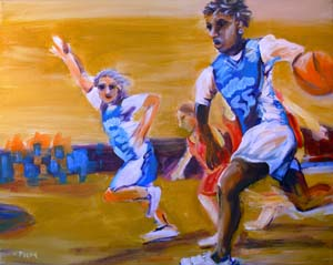© Pam Van Londen 2008 Junior Stars of Basketball 1 20x16x1 in acrylic on gallery-edged canvas