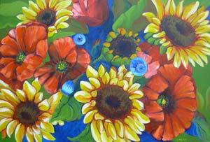 Poppies and Sunflowers 2 © Pam Van Londen 2009