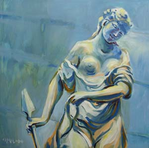 © Pam Van Londen 2008 Diana Sculpture 8x8x1 in oil on clayboard