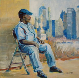 © Pam Van Londen 2009, Man Resting in NYC, 8x8x1 on oil on claybord