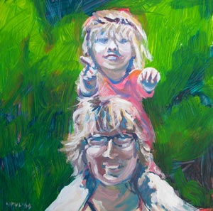 © Pam Van Londen 2009. Self Portrait 2009 Me and Mini Me. Oil on 8x8 claybord