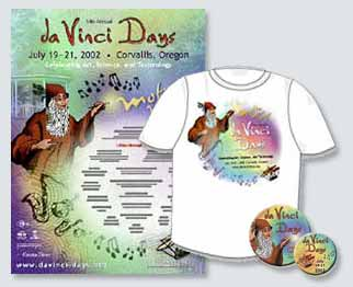 da Vinci Days theme design for posters, signs, bags, and the web site for 2002