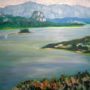 © Pam Van Londen 2010, Columbia Gorge Beacon Rock 1, oil on clayboard, 8x8