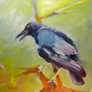 © Pam Van Londen 2009,  Crow Speaks Her Mind, oil on clayboard,  8x8x1