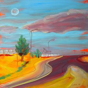 © Pam Van Londen 2010,  Arizona Highway 1, oil on clayboard,  8x8