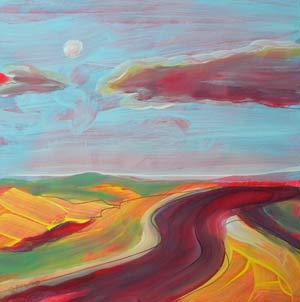 © Pam Van Londen 2010,  Arizona Highway 2, oil on clayboard,  8x8