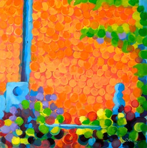 © Pam Van Londen 2010,  Brick Wall 1, oil on clayboard,  8x8