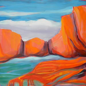 © Pam Van Londen 2010,  Canyon Dreams 14, oil on clayboard,  8x8
