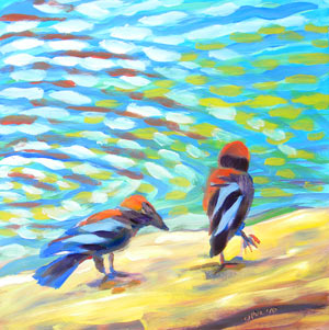 © Pam Van Londen 2010,  Crows at the Beach 7, oil on clayboard,  8x8