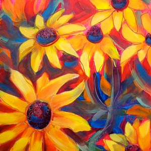 © Pam Van Londen 2010,  Black Eyed Susans 1, oil on clayboard,  8x8