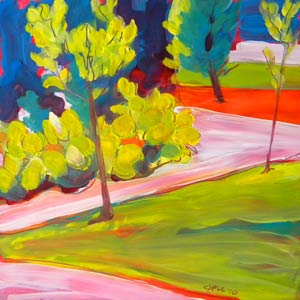 © Pam Van Londen 2010,  Independence Park 2, oil on clayboard,  8x8