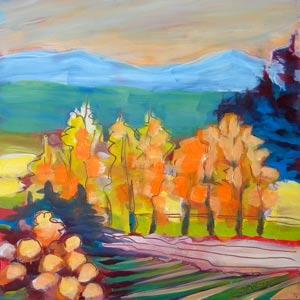 © Pam Van Londen 2010,  Turner Valley Farm 3, oil on clayboard,  8x8