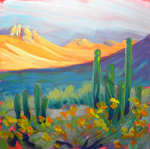 © Pam Van Londen 2010,  Organ Pipe 6, oil on clayboard,  8x8