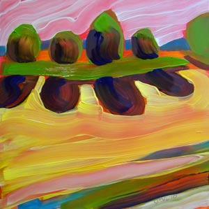 © Pam Van Londen 2010,  Valley Evening 3, oil on clayboard,  8x8