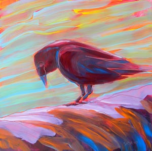 © Pam Van Londen 2010,  Crow at the Beach 9, oil on claybord,  8x8