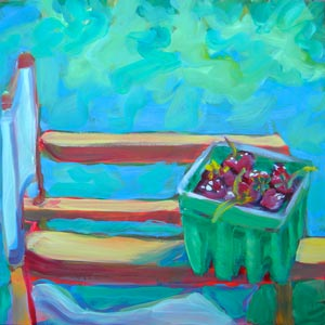 © Pam Van Londen 2010,  Denise's Strawberries, oil on claybord,  8x8