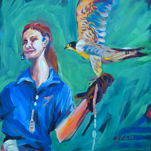 © Pam Van Londen 2010,  Falcon and Trainer.   Oil on 8x8-inch archival Gessobord panel. Unframed. Purchase frame separately.