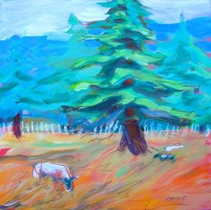 © Pam Van Londen 2010,  Sheep Grazing 1, oil on claybord,  8x8